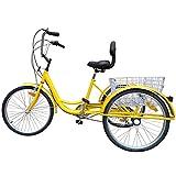 Ridgayard 6 Speed 24 Inch 3 Wheel Adult Tricycle Cruise Cargo Bike with Folding Basket (Yellow)