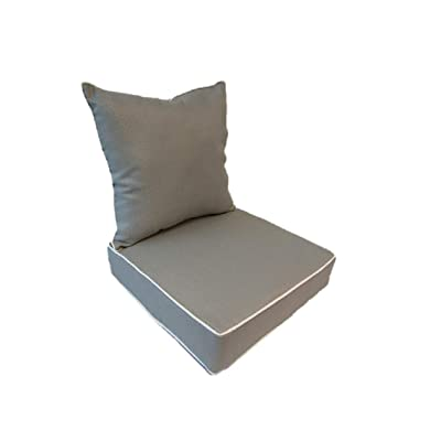 Suntastic Indoor/Outdoor Light Grey Textured Deep Seating Lounge Chair and Back Cushion Set for Patio Furniture: Home & Kitchen