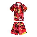 Boy Hawaiian Aloha Luau Shirt and Shorts 2 Piece Cabana Set in Red Sunset 4 Year Old,medium