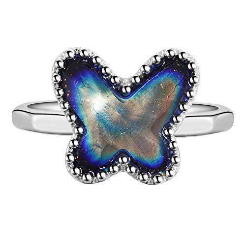 ng Mood Ring Butterfly Shaped Imitation White Gold Plated Thermochromic Liquid Crystal Ring (7.5) (Butterfly Mood Ring)