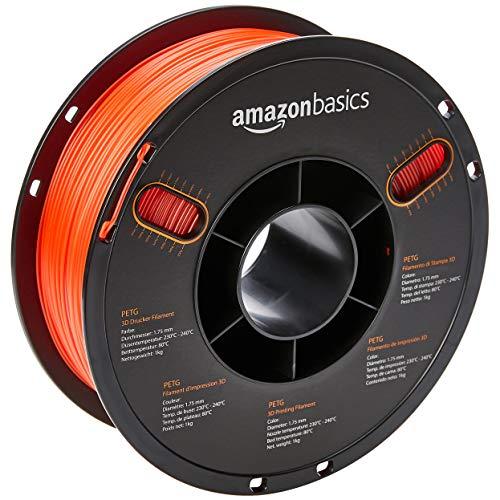 Kg Filament 1 Spool (AmazonBasics PETG 3D Printer Filament, 1.75mm, Translucent Red, 1 kg Spool)