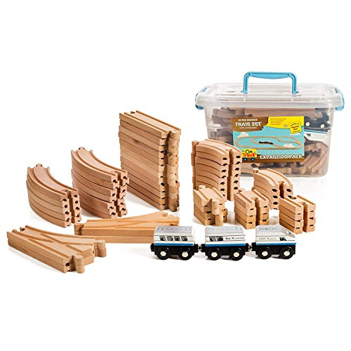 55 Piece Wooden Expansion Pack Train Set With Train Cars, Comes In A Clear Container, Compatible With All Major Brands ()
