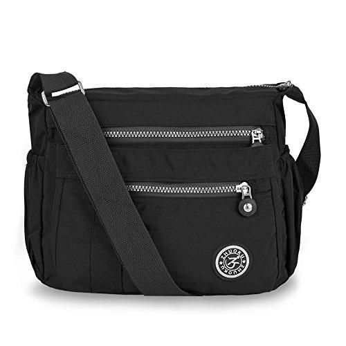 Vbiger Shoulder Bags Messenger Handbags Multi Pocket Waterproof Crossbody Bags (New Black 2)