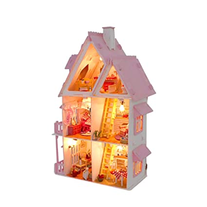 Amazon Com Ai Yun Diy Pink Princess Doll House Wooden Dollhouse