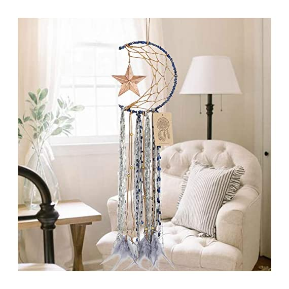 Dremisland Blue Dream Catcher Handmade Half Circle Moon Design Dream Catcher Feather Hanging with Star Home Decoration… - Material: Metal circle, Wood beads, Natural feather, cotton Lace,Vintage Star Diameter size:20m/8 inch, total length:64cm/25inch Unique Star design Creates a festive and cheerful atmosphere for the room. - living-room-decor, living-room, home-decor - 51yvw5cBqQL. SS570  -