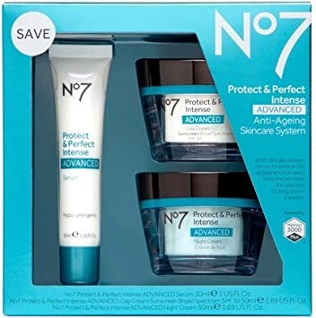 Boots No7 Protect Perfect Intense Advanced 3 Piece Skincare System Serum Day Night Cream SPF15