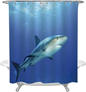 Shark Shower Curtain Set,Fish in the Exotic Ocean Dreamy Water with Surreal Color Underwater World Image Decorative Waterproof Fabric Bathroom Decorations,Bath Curtains Hooks Included,72x84in,Violet B