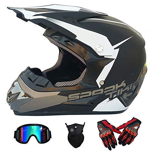 Y.P Full Face Dual Sport Motocross Crash Helmet Off Road Motorbike Helmet Gloves Goggles Mask Set for ATV/MX/BMX/DH/Enduro/MTB (B,M) ()