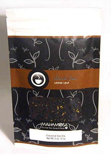 Mahamosa Coconut Vanilla Tea 2 oz - Flavored Black Tea Blend Loose Leaf (Looseleaf) (with black tea, shredded coconut and vanilla bits with coconut and vanilla flavor) (Vanilla Tea Loose Leaf Mahamosa)