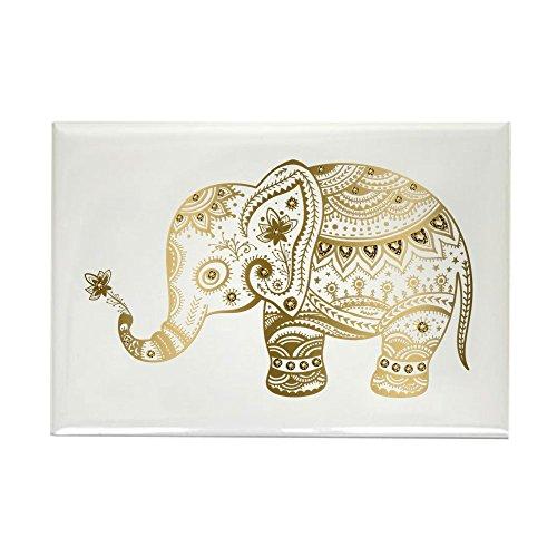 CafePress - Gold Tones Cute Tribal Elephant Illustration - Rectangle Magnet, 2