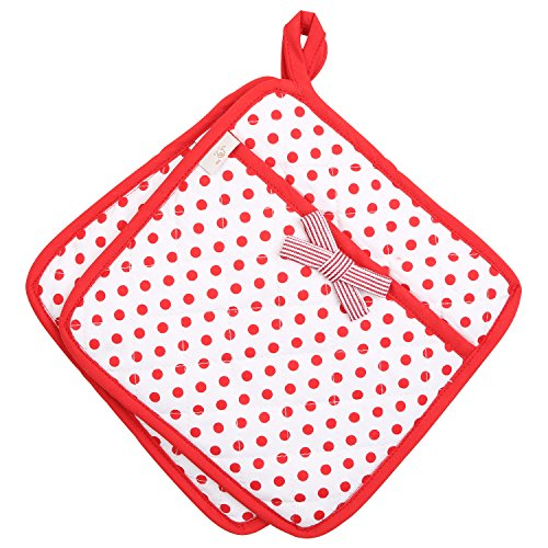 Cherry Pot (Neoviva Lovely Cotton Quilting Heat Resistant Pot Holders for Daily Kitchen, Set of 2, Polka Dots Cherry Tomato)