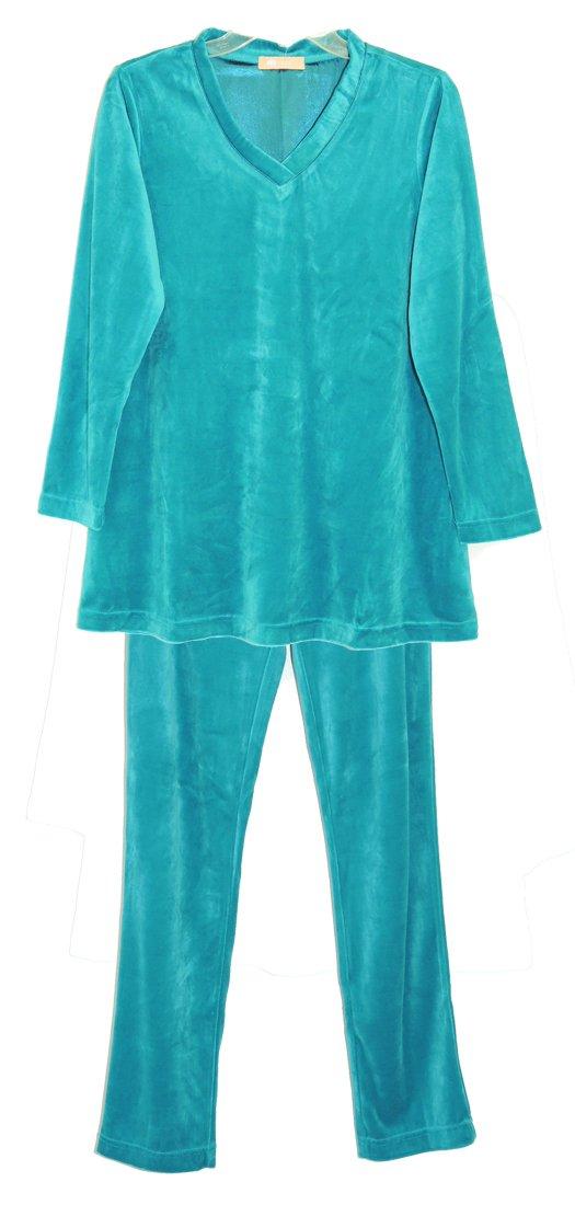 La Cera Velour Set Plus Size 1X Teal