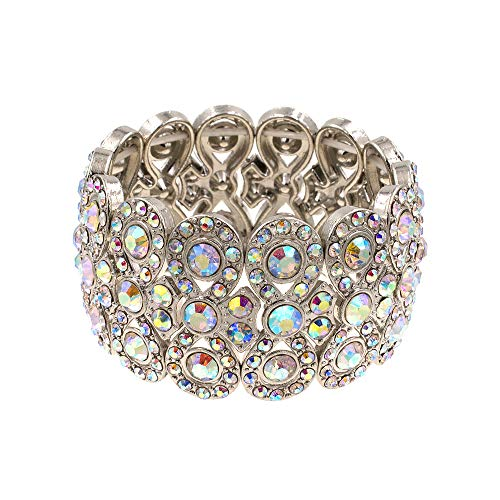 "- Lavencious Infinity Shape Rhinestone Stretch Bracelet Evening Party Jewelry 7"" (Silver AB)"