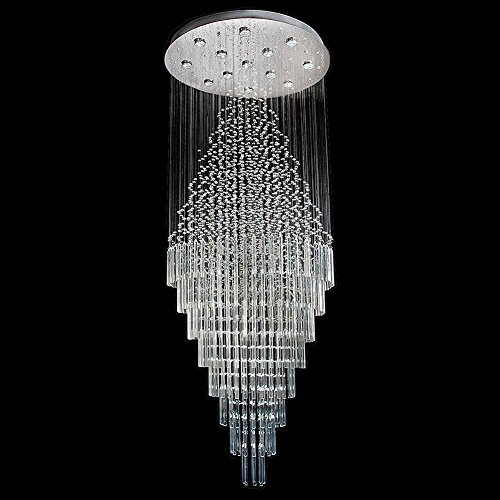 7PM W23.6 X H59 Round Clear K9 Rain Drop LED Crystal Chandelier