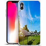 LifeCO Custom Phone Case Cover for iPhone X/XS 5.8',Sun Solar Panels Wind Turbines Against Mountanis Blue Photovoltaic Sky Clouds Alternative Energy,Anti-Scratch Protective Soft Rubber Gel/TPU