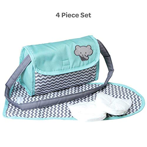(Adora Baby Doll Zig Zag Diaper Bag Accessories Changing Set Gender Neutral Teal Pattern Design for Kids 3 years & up)