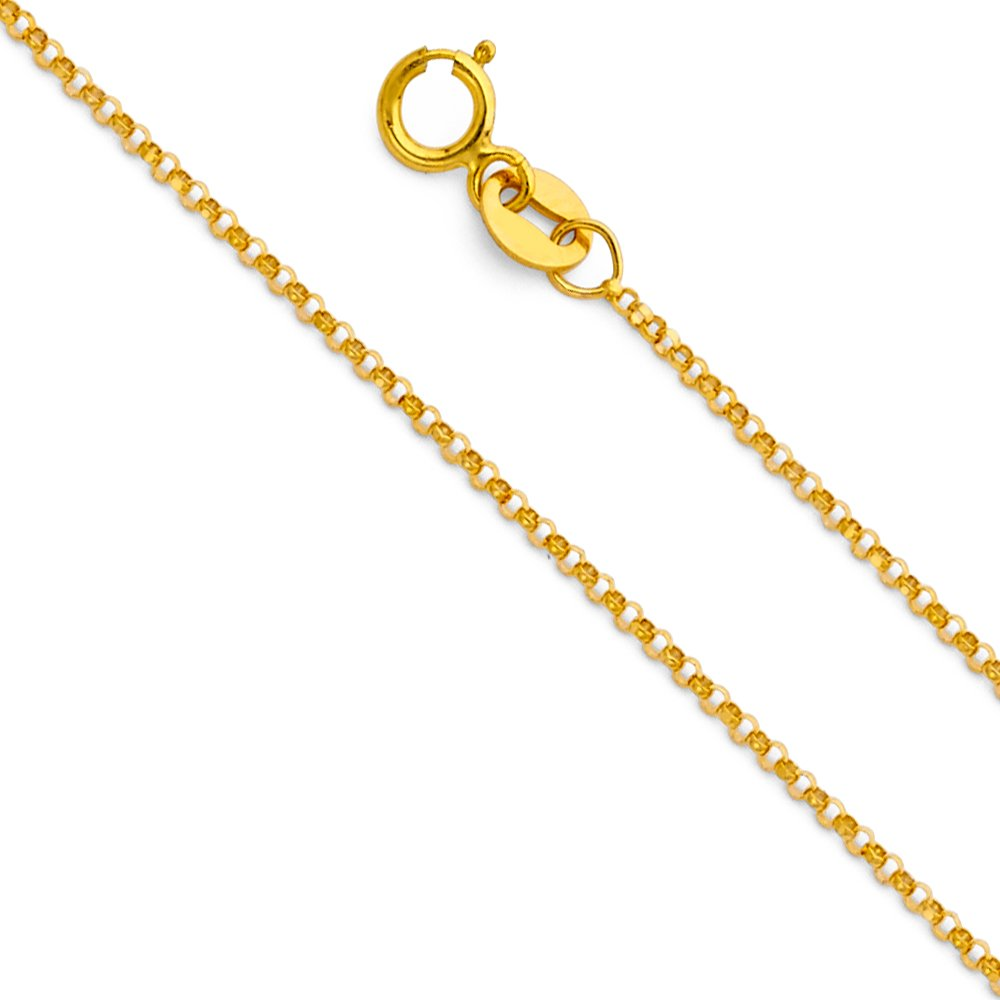 14K Yellow OR White Solid Gold 1.2mm Classic Rolo Cable Chain Necklace with Spring Ring Clasp Ioka