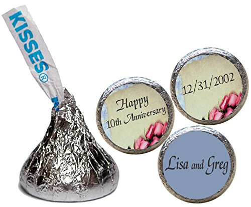 Anniversary Stickers for the bottom of chocolate Kisses,Personalized (set of ()