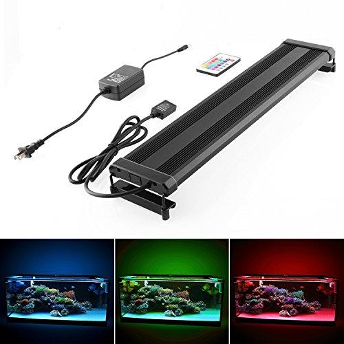 Amzdeal Lámpara Ultrafina, luces para acuarios, Color de luz blanco y RGB, con enchufe EU (70-95 cm)