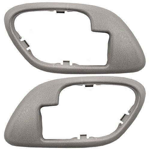 (Pair Set Inside Inner Gray Door Handle Trim Bezels Replacement for Cadillac SUV Chevrolet GMC Pickup Truck 15708079 15708080)