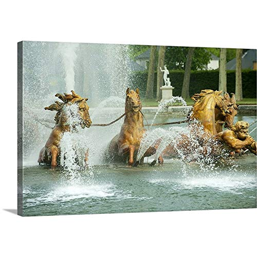 Fountain in a Garden, Fountain of Apollo, Versailles, Paris, ILE de France, France Canvas Wall (Wall Formal Garden Fountain)