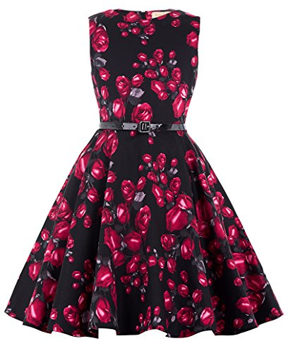 Pinup 50's Vintage Floral Round Neck Casual Homecoming Dresses 10~11Yrs Black G Red Flower