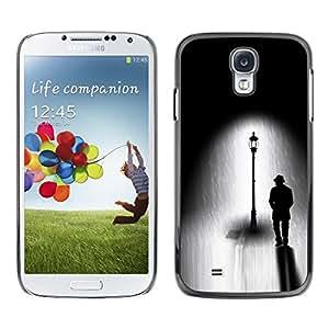 FECELL CITY // Duro Aluminio Pegatina PC Caso decorativo Funda Carcasa de Protección para Samsung Galaxy S4 I9500 // Street Light Black White Drawing Dark