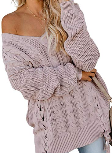 Zecilbo Women's Off Shoulder V Neck Cable Knit Sweater Casual Loose Long Sleeve Chunky Jumper Tops