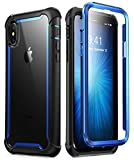 i-Blason Case for iPhone X 2017/ iPhone Xs 2018, [Ares] Full-Body Rugged Clear Bumper Case with Built-in Screen Protector (Blue)