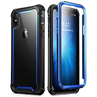 i-Blason Ares Designed for iPhone Xs Case, iPhone X Case, Full-Body Rugged Clear Bumper Case with Built-in Screen Protector for iPhone Xs 5.8 Inch (2018 Release) (Blue)