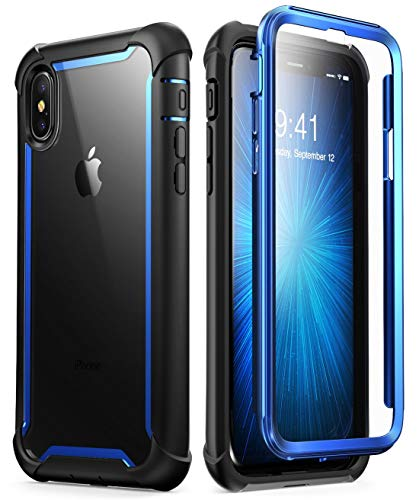 i-Blason Case for iPhone X 2017/ iPhone Xs 2018, [Ares] Full-Body Rugged Clear Bumper Case with Built-in Screen Protector (Blue) -