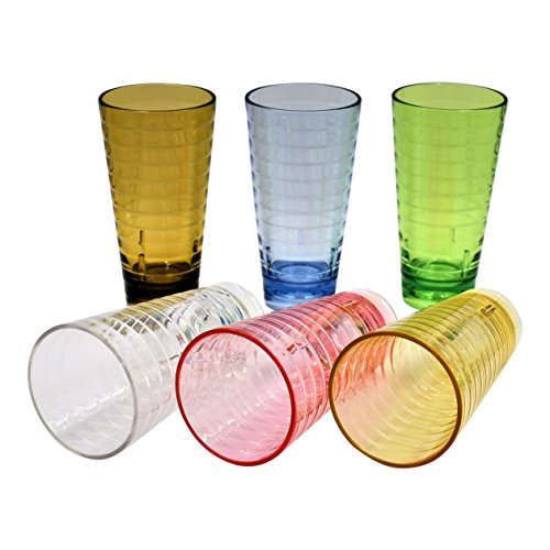 ActiveFloo Break-Resistant Premium Quality Cup BPA Free Plastic Glasses / Acrylic Tumblers Set of Six 22oz, Assorted Colors For Water, Iced Tea, Cocktail, Beer, Hot/Cold Beverages