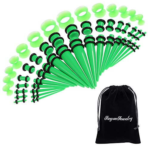 50 Pieces Ear Stretching Kit 14G-00G by JieyueJewelry - Acrylic Tapers and Plugs + Silicone Tunnels - Ear Gauges Expander Set Body Piercing Jewelry (Grass Green)