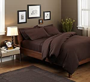 Pinzon 190 Gram Heavyweight Velvet Flannel Duvet Set - Full/Queen, Italian Roast