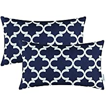 Pack of 2 CaliTime Bolster Pillow Covers Cases for Couch Sofa Home Decor, Modern Quatrefoil Accent Geometric, 12 X 20 Inches, Navy Blue