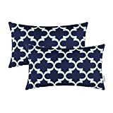 outdoor accent pillows - Pack of 2 CaliTime Bolster Pillow Covers Cases for Couch Sofa Home Decor, Modern Quatrefoil Accent Geometric, 12 X 20 Inches, Navy Blue