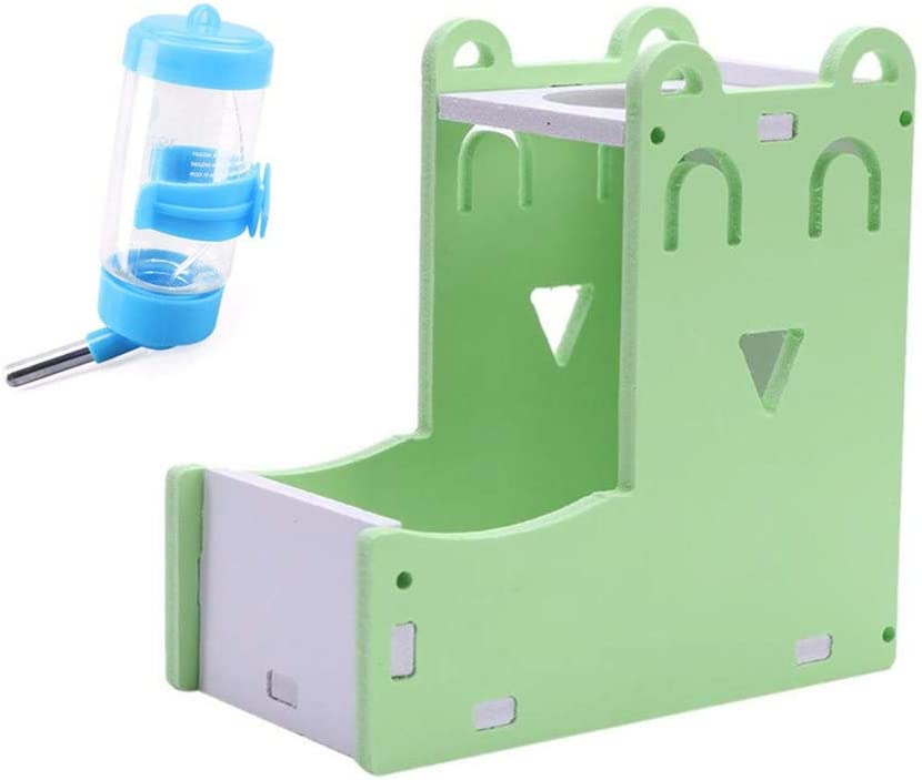 Openg Comedero Automatico Comederos Hamster Hámster Alimentador automático Los Hurones de Botella de Agua Conejo Accesorios Jaula de hámster tazón Set-Green