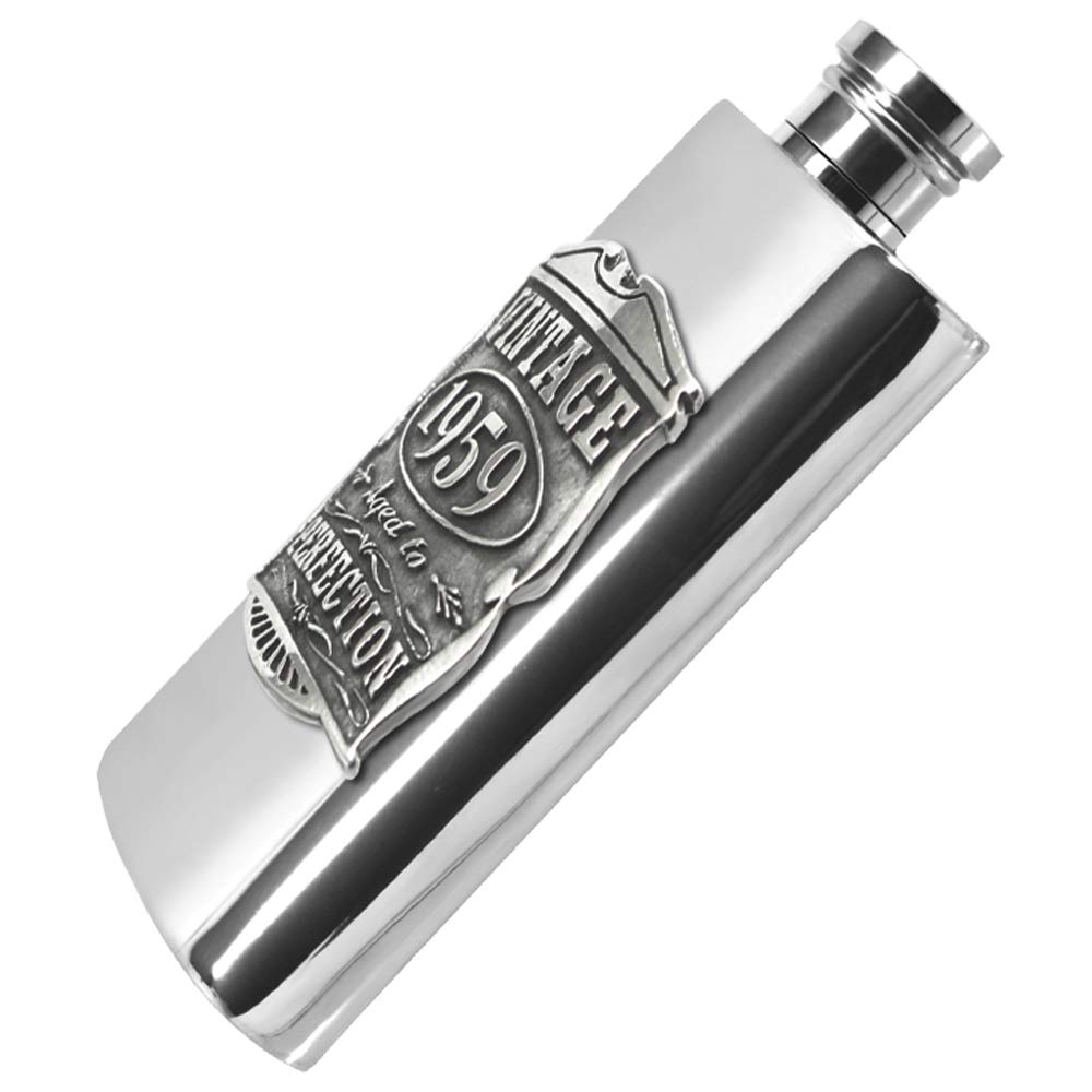 Unique Gift Idea for Men English Pewter Company 6oz Vintage Years 1998 21st Birthday Gift Pewter Hip Flask /& Box VIN020
