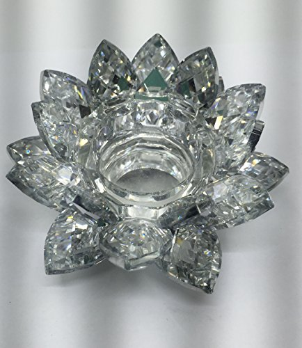 SunRise 4.5 inch Centerpieces Crystal Lotus Candle Holder Collectible Figurine Crystal (Silver)