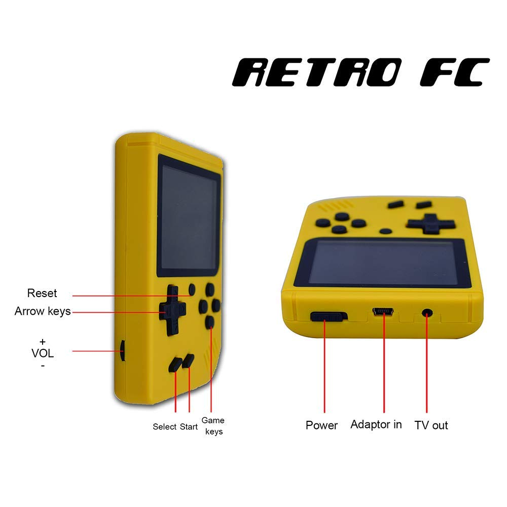 FLYFISH Handheld Game Console, Retro FC Game Console 3 Inch 168 Classic Games , Birthday Present for Children -Yellow by FLYFISH (Image #3)