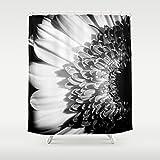 Custom Shower Curtain | Gerbera Daisy Print | Extra Long Shower Curtain | Floral Art | Black & White Print | Bath Decor | New Home Gift