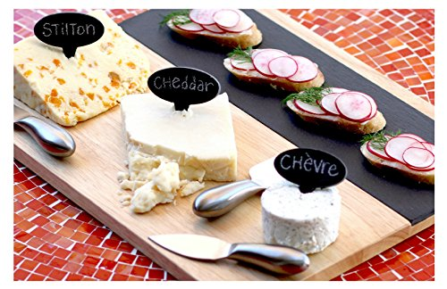 and Wood Cheese Board Set with Stainless Steel Knives, Cheese Markers, Soapstone Chalk, and Serving Guide--2 Versatile Serving Trays, Perfect for Appetizers, Desserts, Charcuterie (Large Cheese)