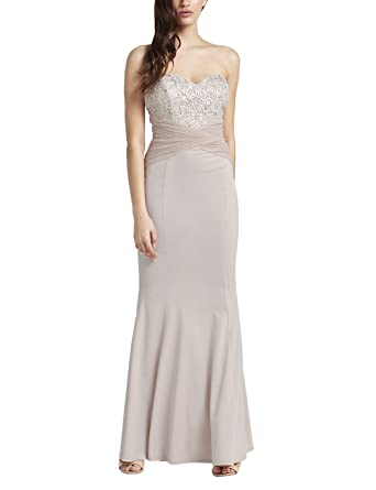 Cream ruched bandeau maxi dress