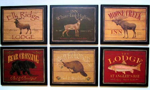 Lodge Style Country Inns Wall Decor Signs – 6 piece set plaques Review