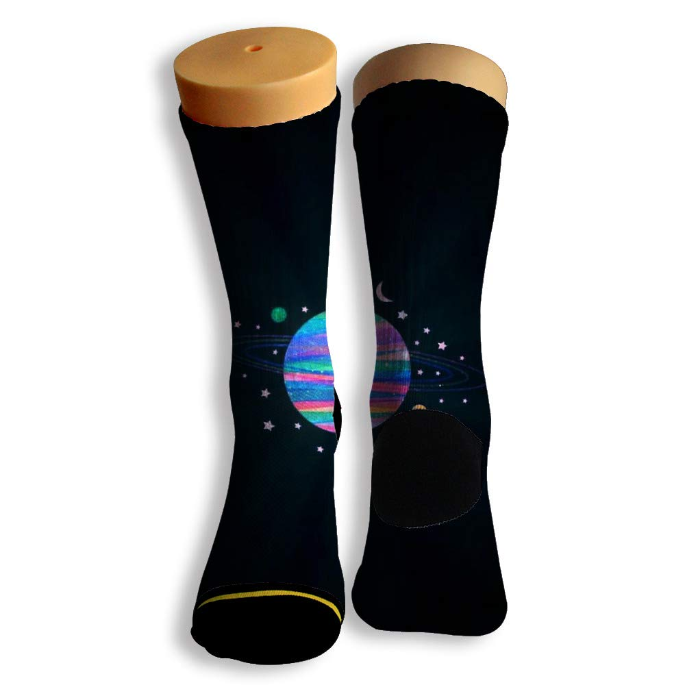 Basketball Soccer Baseball Socks by Potooy The Moon in Solar System Doodle 3D Print Cushion Athletic Crew Socks for Men Women