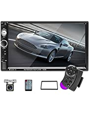 Hodozzy 7 inch Double Din Car Stereo, Touch Screen Car Radio Bluetooth USB TF AUX FM Receiver, Mirror Link for Android & iOS, Car MP5 Multimedia Player + Backup Camera + Steering Wheel Control