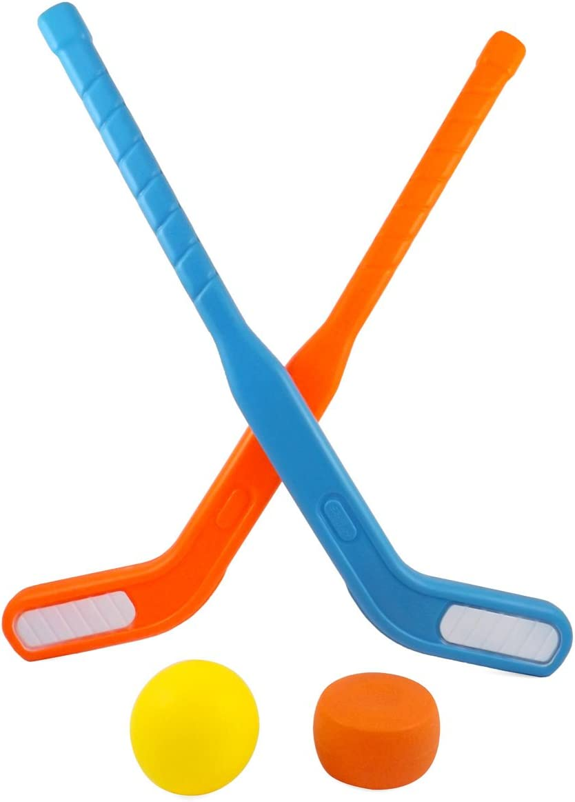 Liberty Imports Face Off Dual Hockey Sticks Youth Sports Set for Kids Puck and Ball (1 Pack)