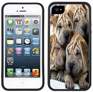Shar Pei Puppies Handmade iPhone 5 5S Black Bumper Plastic Case