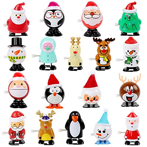 FUNARTY 18 Pack Christmas Wind Up Toys Supplies Gifts, Christmas Party Favors and Prize for Kids (Christmas Crackers Themed)