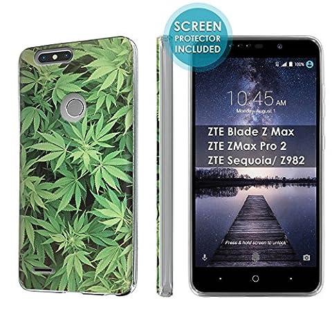 [Nakedshield] Slim Flexi Case For ZTE Blade Z Max/ZTE ZMax Pro 2/ZTE Sequoia/ Z982 [Clear] Total Armor Rubber Gel Phone Case [Screen Protector]- [Marijuana Background] Print (Zte Zmax Phone Case Marijuana)